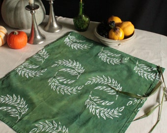 spinach green winter tea towel