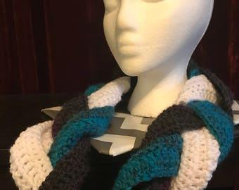 Handmade Crochet Braided Cowl Infinity Scarf
