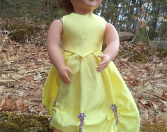 "18""yellow doll gown, yellow sleeveless doll gown, floor length doll gown, 2 piece doll gown, yellow doll gown with purple flowers/ribbons"