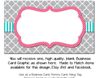 DYI Blank Business Card Template - Grey Moraccan with Pink & Teal - Made to Match Etsy Sets and Facebook Timeline Covers