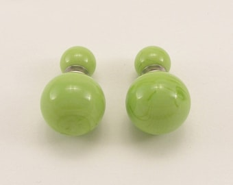Murano glass green pea double sided earrings, Bright or Matt, glass jewelry, surgical steel, sterling silver, Made in Itlay