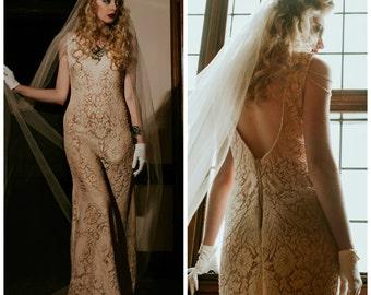 Wedding dress, Boho wedding dress, wedding dress, crochet lace wedding dress, lace wedding dress, v back wedding dress, beach wedding dress,