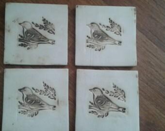 Handmade coasters bird design