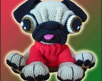 Amigurumi Pattern Crochet Barry Pug Dog DIY Instant Digital Download