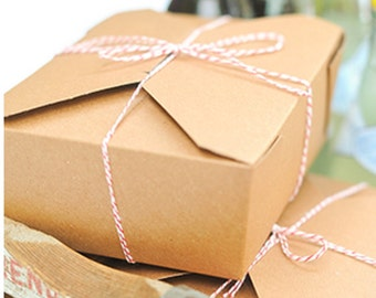 """Kraft Cardboard Boxes Lunch  Kraft Take Out Box - 8 x 6- x 2-1/2"""" Packaging Wedding Favors Boxes / Favor Boxes"""