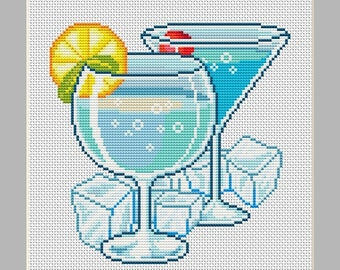 Ice Cold Summer Drinks Counted Cross Stitch Pattern in PDF for Instant Download