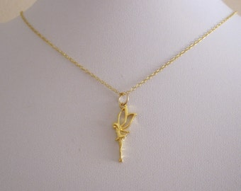 FAIRY with wings yellow gold pendant with necklace chain, fairytale girls necklace