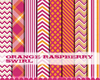 Orange and Pink clip art chevron frame digital paper clipart, Fuschia pink and orange : p0218 3s0638 IP