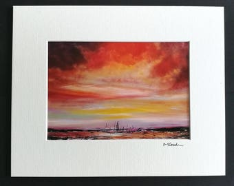 Touched by an Angel - Abstract Emotional, Art, Photographic Print, mounted, love, red, orange, seascape