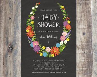 Flower Wreath Baby Shower Invitation, Printable PDF or Jpeg