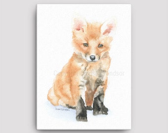 Baby Fox Watercolor Painting 12 x 16 Gallery Wrapped Canvas Print - Woodland Animal - Nursery Art