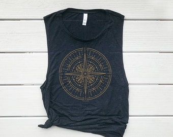 Gold Compass, Muscle Tank, Graphic Tee, Adventure Top, Yoga Top, Gym Top, Yoga Tank, Kindness Tee, Clothing, Graphic Tank, Summer Top, Camp
