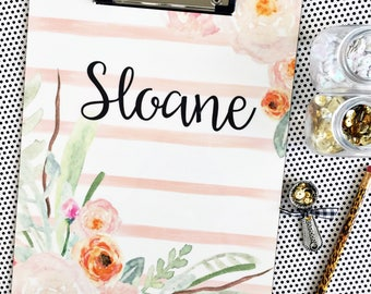 Pastel Watercolor stripes and flowers clipboard, personalized clipboard, monogrammed clipboard, watercolor clipboard, floral clipboard