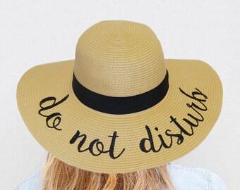 Embroidered Do Not Disturb Hat, Summer Floppy Hat, Honeymoon Hat