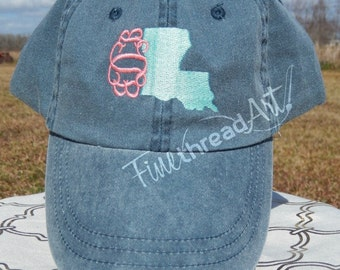 LADIES State Baseball Cap Hat LEATHER strap Monogram Preppy Louisiana South Carolina Texas California Alabama Bachelorette Pigment Dyed