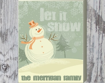 "Let it Snow Family Holiday Sign | Winter Decor | Customized Christmas Gift | 11"" x 14"" Wrapped Canvas"