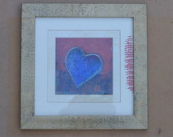 ART SALE: Framed Mixed Media 'Heart'