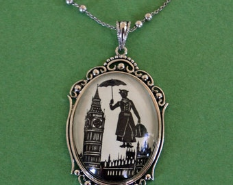 MARY POPPINS Necklace - pendant on chain - Silhouette Jewelry