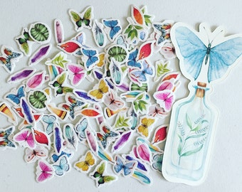 Nature Plants & Butterflies Mini Stickers, Boho Feathers Planner Stickers, Spring Deco Stickers, Crafting Stickers, Planner/Scrapbook Supply