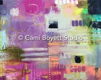 Hopscotch - 24x36 Original Mixed Media Painting