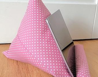 Cushion,  Pillow Stand, Vintage-Inspired, Rose Pink, iPad Stand, Mini iPad Holder, E-Reader, iPad, Mini iPad, Pillow, Cushion, Tablet Stand