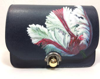 """Leather shoulder Bag """"Tulip III"""" of Italian quality leather, hand painted."""