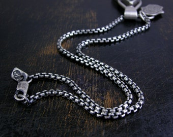 Round box chain made to order sterling silver 2.5mm soldered jump rings and lobster claw clasp antique rustic finish