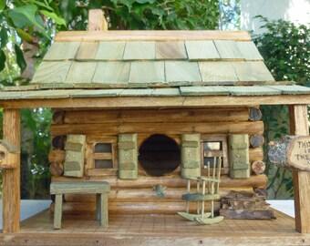 LOG CABIN BIRDHOUSE, Rustic Cabin Birdhouse, Log Cabin