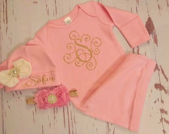 Baby Girl Coming Home Outfit, Baby, Clothes, Personalized, Newborn Girl, Outfit, Name, Take Home, Newborn Baby, Baby, Gown, Layette, baby