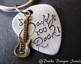 You rock daddy keychain guitar pick  Father's Day gift