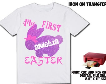 Easter Personalized Name and Age - Easter DIY Printable Iron On Transfer - Easter Printable Birthday Shirt Party Transfer DIY
