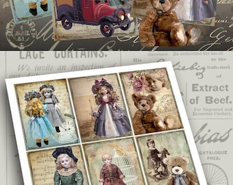 Printable download Gift Tags GRANNY'S TOYS Digital Collage Sheet Vintage print-it-yourself scrap-booking paper craft ephemera greeting cards