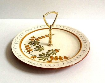 """Stangl Golden Blossom Hand Painted Floral Tray with Gold Toned Handle, 10"""" Round Tray, Stangl Tidbit Tray"""