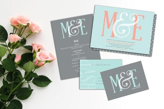 Ampersand Monogram Wedding Invitation Set, Elegant Monogram invitation, Wedding response cards, Thank you cards, Modern Monogram Invites