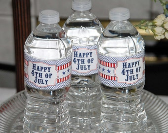 Instant Download - Printable Water Bottle Labels - 4th of July Party Collection