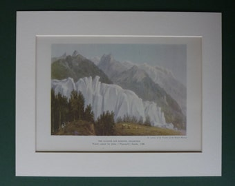 Vintage Print Of The Glacier Des Bossons By John Warwick Smith - Mountain Watercolor Picture - Available Framed - French Landscape Art Print