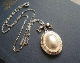 Pearl Locket Necklace Gift For Her Silver Locket Necklace Pearl Necklace Silver Oval Locket with Bow Jewelry