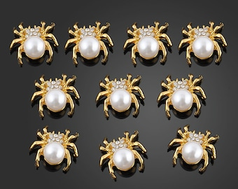 2 PC 3D Decoration Nail Art Tiny Pearl Metal Rhinestone Spider Cabochon 3D42617