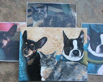 Custom Pet Portrait Acrylic Painting on Stretched Canvas, Gift for Pet Lover, Loss of Pet, Personalized Pet Painting, 11 x 14, Hand Painted