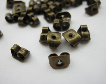 100 Bronze Earring Backs Butterfly Stoppers (50 Pairs) Antique Bronze Earring Components Findings Jewellery Making Supplies