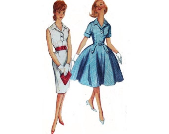 "1960s Simplicity 3452 Teen or Woman Dress in Slim or Full Circle Skirt Size 16 || Bust 36"" /91cm 