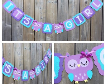 Owl banner, IT'S A GIRL banner, purple blue owl banner, blue purple owl banner, baby shower decoration, owl baby shower banner