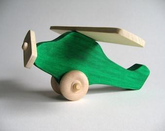 Green Wooden Airplane Waldorf Toy