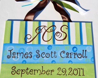 Custom Hand Painted  Wall Birth Announcement Choose colors Boy/Girl Designs Available