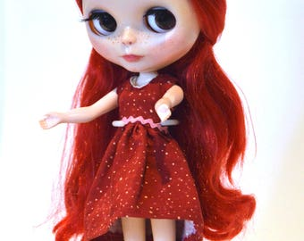 Blythe dress, Blythe red dress with polka dots, Blythe clothing, Blythe clothes, Blythe outfit, Blythe apparel, Eclectic Wandering handmade