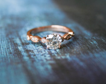 Engagement Ring, Moissanite Engagement Ring, Colorless Moissanite, Rose Gold Ring, Unique Engagement Ring, Antique, Vintage, Miligrain Band