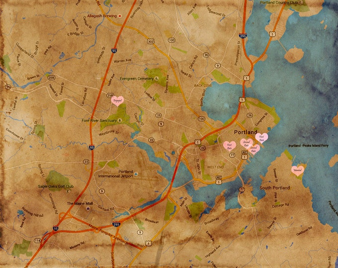 Heart Map Art GPS Coordinates Long Distance Love Heart Map Gift Map Heart Maps As Art Gifts World Map Artwork Wedding Map Engagement 16x20