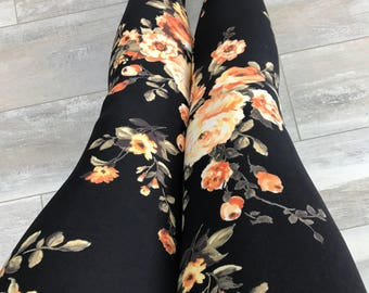 """Leggings for women, ultra comfortable in """"brushed poly"""" orange and yellow flowers on black polyester/spandex"""