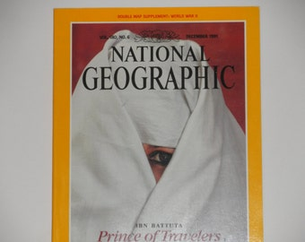 National Geographic Magazine - December 1991 with WWII Map - IBN Battuta Prince of Travelers - Pearl Harbor - Vintage Magazine Back Issue