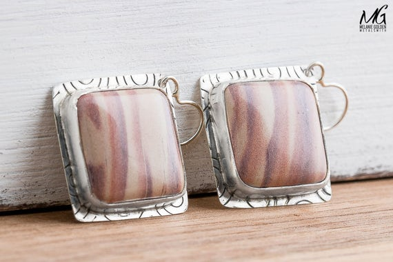 Light Pink Australian Print Stone Earrings